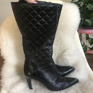 VIA SPIGA • Black Quilted Leather Boots 7